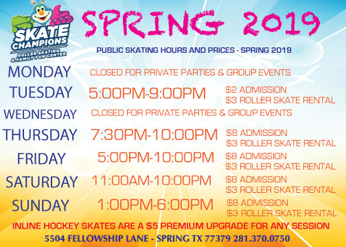 Fall 2019 Public Skating Hours