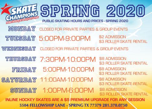 Spring 2020 Public Skating Hours