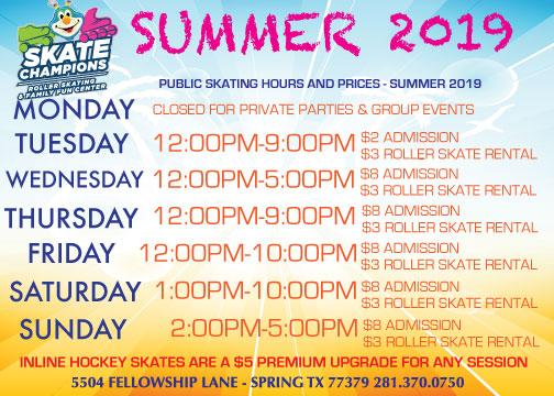 Summer Public Skating Hours