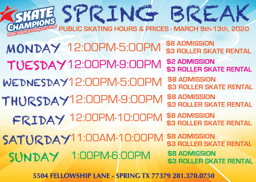 Spring Break 2020 Schedule