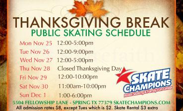 Thanksgiving Break Skate Sessions