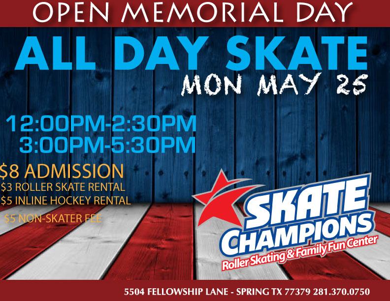 Memorial Day All Day Skate