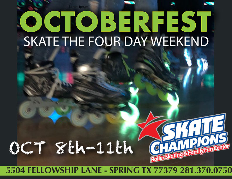 Skate the Four-Day Weekend Oct 8th-11th