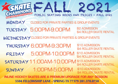 Fall 2021 Public Skating Hours and Prices